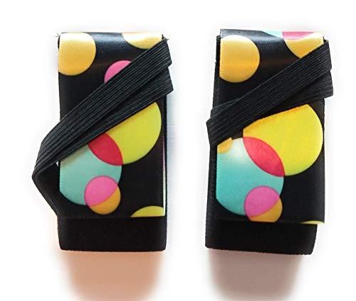 Slip-On Dancers® Tiranté Twiist modisches Accessoire für Workout Schuhe - Tanzen in Sneakers und schützen die Knie, Party Bubbles, X-Large