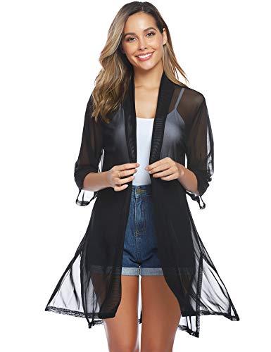 Abollria donna cardigan leggero e trasparente con maniche 3/4 cappotto casual per andare a vacanza, spiaggia copricostumi e parei estivi per mare e piscina