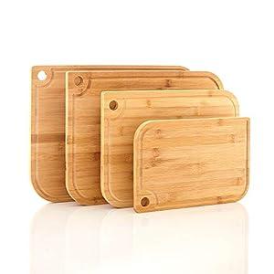Set aus 4x Schneidebrettern 100% Bambus in 4 Größen | Küchenbrett für Käse, Brot, Gemüse o. Fleisch | Brotbox Brottbrett Schneidebrett Schneideunterlage Hackbrett Servierbrett