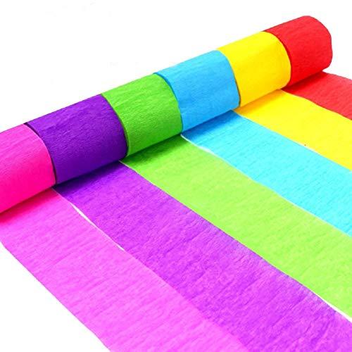 Krepppapierrollen, Dekorative Seidenpapier Party Luftschlangen 6 Farben Home DIY Papier Wand Tür Decke Hängende Dekoration für Festival, Geburtstag, Hochzeit, Babyparty, Zeremonie Dekorationen