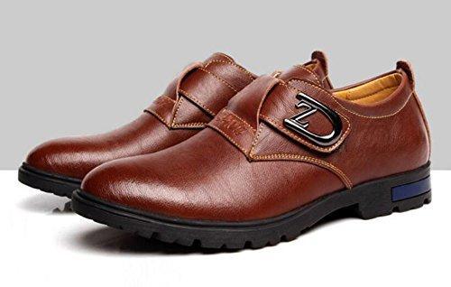 GRRONG Herren Lederschuhe Echtes Leder Freizeit Mode Schwarz Braun Brown