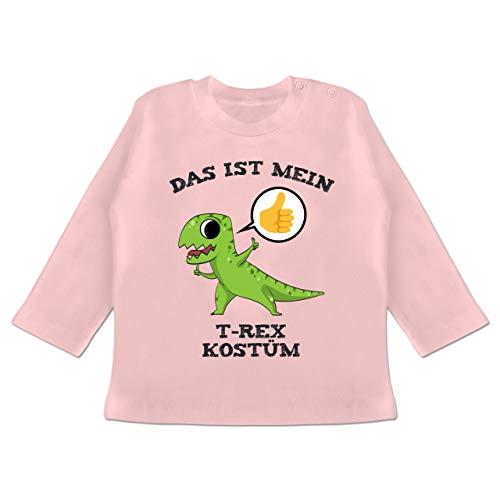 Karneval und Fasching Baby - Das ist Mein T-Rex Kostüm Comic - 18-24 Monate - Babyrosa - BZ11 - Baby T-Shirt Langarm
