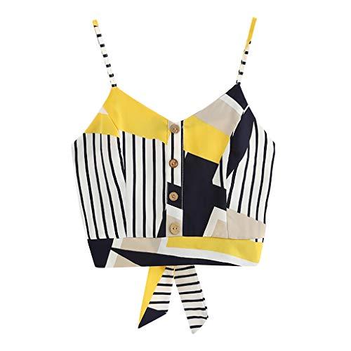 Bow Tie Tank (Damen Tanktop Gelb Streifen Camis Kurz T-Shirt Sommer Basic Weste Camisole V-Ausschnitt Splice gestreift Tunika Crop top Splice Sling Tank elegant Bow Tie Back Pullover Ärmelloses blusen (Gelb, s))