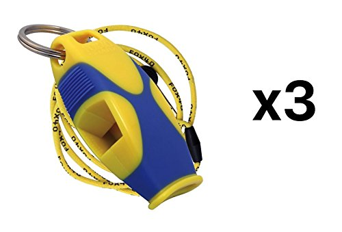 Fox 40 Sharx Whistle W/ Lanyard Referee Coach Survival Outdoor Yellow (3-Pack)