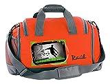Mein Zwergenland Multi-Sporttasche in Orange mit Schuhfach mit Name, 41 L, Fußballer 54