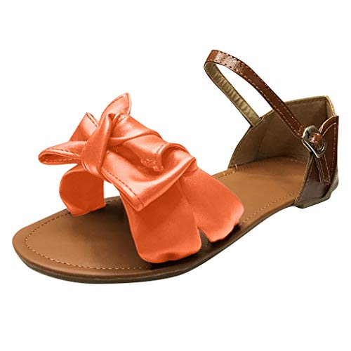 Sandalen mit Groß Bowknot für Damen/Dorical Mädchen Frauen Sommer Strandschuhe Ebeneschuhe Schuhe Süßen Stil Elegant Peep Toe Sandals, Damenschuhe 35-43 EU Ausverkauf(Orange,38 EU)