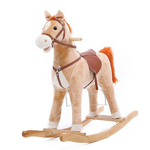 Lvbeis Baby Gross Schaukelpferd Holz PlüSch Rocking Horse Toy Schaukeltier Mit Sounds & Moving Mund Und Schwanz,Grayish