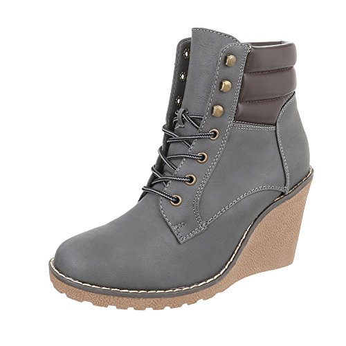 Ital-Design Keilstiefeletten Damen-Schuhe Keilstiefeletten Keilabsatz/Wedge Keilabsatz Schnürsenkel