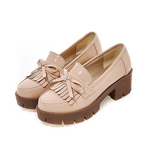 VogueZone009 Femme à Talon Correct Verni Couleur Unie Tire Rond Chaussures Légeres Abricot