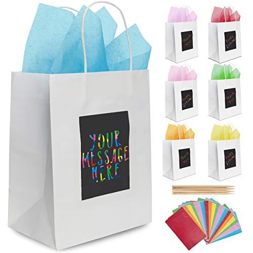 7 weiße Geschenktüten aus Papier mit Seidenpapier Purple Ladybug Novelty | Papiertragetaschen 19x24x12 cm individuell zu gestalten | Robuste Geschenkverpackung, Papiertaschen für Geburtstage u. v. m.