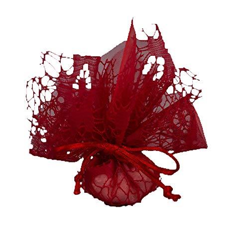 Set 30 pezzi, bomboniera fazzoletto velo con tirante (dimensione cm 22x22), portaconfetti, segnaposto, confettata (ck6265) (rosso)