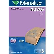 Menalux 4370 P Lot de 10 sacs en papier pour aspirateurs De Longhi, Simac et Vetrella (Import Allemagne)