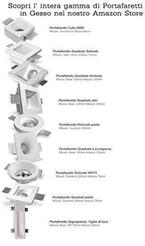 confronta il prezzo KingLed - Portafaretto da Incasso in Gesso Quadrato Alto per Faretti GU10 e MR16, Dimensioni 120 x 120 Millimetri, cod. 0628 miglior prezzo