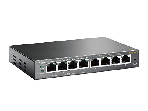 TP-Link TL-SG108PE 8-Port Gigabit/Netzwerk Easy-Smart-Switch (4 PoE-Ports, bis 2000 MBit/s, 16Gbit/s Switching-Kapazität, geschirmte RJ-45 Ports, Weboberfläche, VLAN, IGMP-Snooping, lüfterlos)