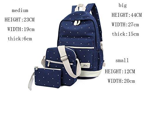 Ohmais 3PCS Rücksack Rucksäcke Rucksack Backpack Daypack Schulranzen Schulrucksack Wanderrucksack Schultasche Rucksack für Schülerin schwarz