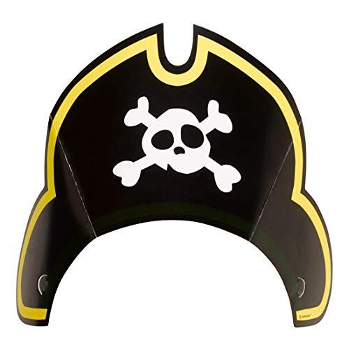 NET TOYS 8 farbenfrohe Party-Hütchen Pirat | ca. 12 cm hoch | Schöne Party-Deko Geburtstags-Hüte Piratenparty geeignet für Kindergeburtstag & Kinderfeiern