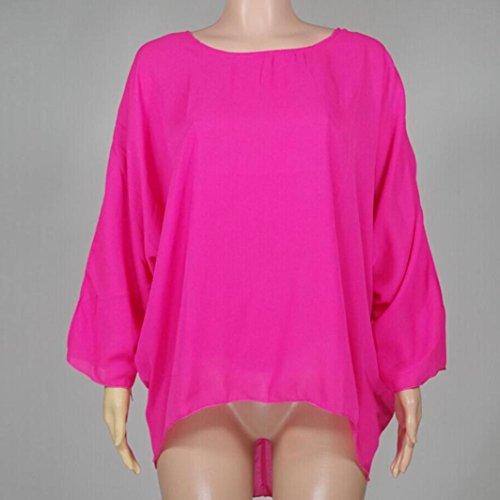 LHWY Donna Estate Manica Lunga Camicia Solido O Collo Chiffon Casual Tops T Shirt Hot Red