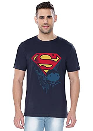 The Souled Store Superman Son of Krypton Superhero Printed Premium NAVY BLUE Cotton T-shirt for Men Women and Girls
