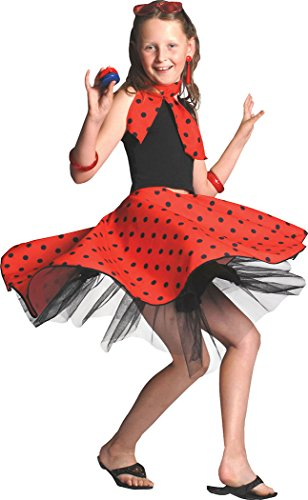 Roll Kinder N Kostüm Rock - Mädchen Kleid Kostüm Party Buch Woche Tag Gepunktet Tanz Rock 'N' Roll Rock & Schal - Rot, Einheitsgröße