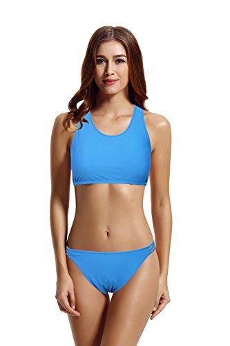 zeraca Damen Bademode Badeanzüge Push up Bikini Set (L Euro 44, Hawaiian Ocean) -