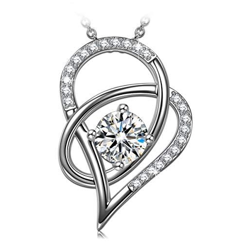 ANGEL NINA Perfect Love Damen Halskette 925 Sterling Silber 5A Zirkonia Weihnachtsgeschenke Schmuck für Geburtstag Jubiläum Valentinstag Mutter Frau Tochter Mädchen Sie