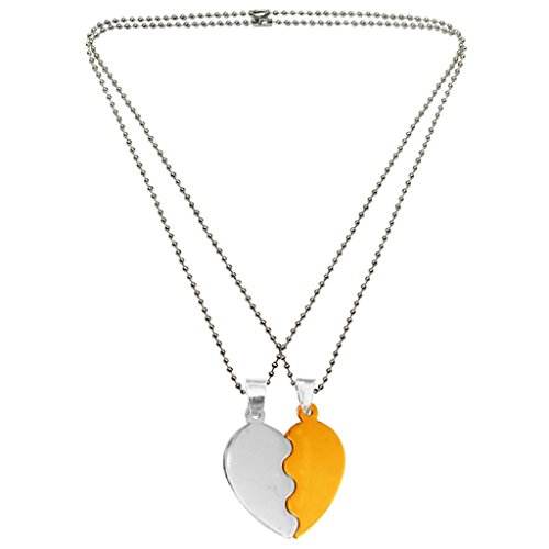 Mens Fashion Jewellery Heart Collection Gold::Silver Valentine Day Special Gift For Lovers Undivided Attention Sweet Heart Pendant With Chain  available at amazon for Rs.185