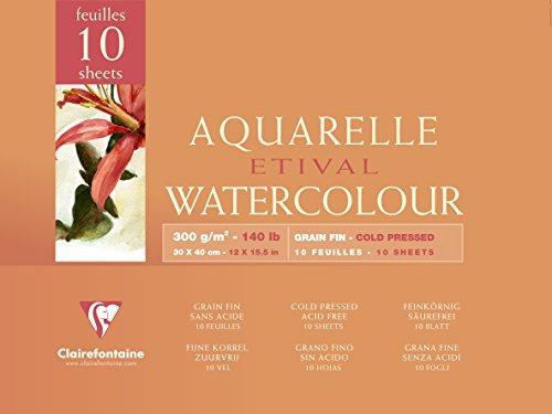 Clairefontaine 96572C Aquarellblock Etival (4-seitig verleimt, 10 Blatt, 300g, für alle...