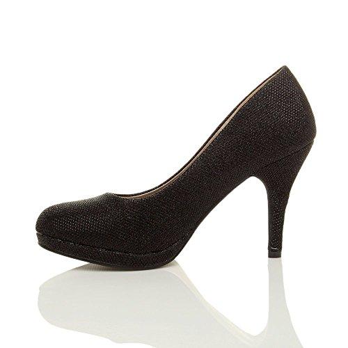 Donna tacco alto medio lavoro sera festa semplice décolleté scarpe taglia Tulle scintillio nero
