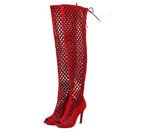 Beaqueen Pompes à suède au dessus du genou Bottes hautes Slouch Gladiator Hollow Peep-toe Stiletto High Heel Summer Zipper Sandales Casual Europe personnalisée Taille 32-46 Red