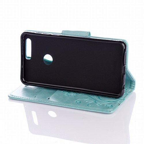 LEMORRY Huawei Honor 8 Custodia Pelle Cuoio Flip Portafoglio Borsa Sottile Fit Bumper Protettivo Magnetico Chiusura Standing Card Slot Morbido Silicone TPU Case Cover Custodia per Huawei Honor 8, Fort Verde