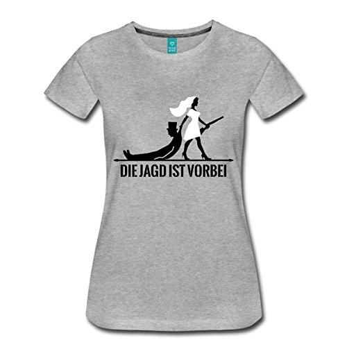 Spreadshirt Junggesellenabschied Die Jagd Ist Vorbei Spruch Frauen T-Shirt, L, Grau Meliert
