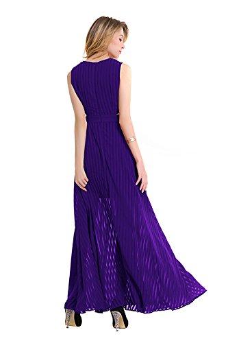 Schlanke Put Auf Einem Großen Runden Hals ärmellosen Chiffon-Kleid Purple