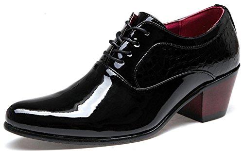MLFMHR Men 's affaires robe chaussures talons hauts en cuir verni dentelle chaussures de mariée