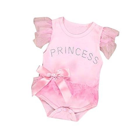 lsv-8Neugeborene Infant Baby Mädchen Kleidung Schleife Spitze Prinzessin Strampler Jumpsuit