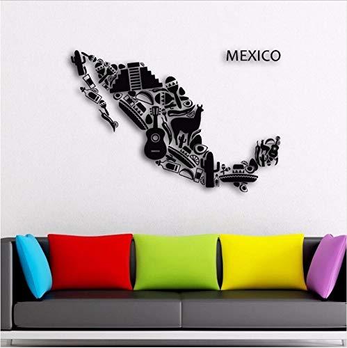Aufkleber Mexiko Karte Wand Vinyl mexikanischen Lateinamerika Wandkunst Aufkleber Home Wohnzimmer Dekoration Mexiko Wand 57X39Cm