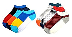 Color Fevrr Mens Cotton Ankle Socks (Multi-Coloured, Pack of 6)