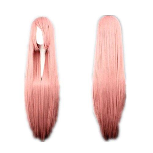 COSPLAZA Cosplay Wigs Kostueme Peruecke lang gerade Anime Show Fasching Karneval Haar 100cm Pink Rosa - Anime Langes Haar Perücke
