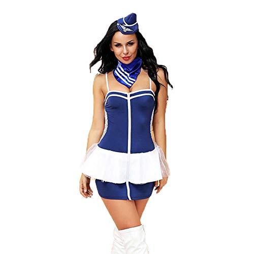 JOJO STYLE Sexy Lingerie Kostüm Blue Air Hostess Stewardess Suit Cosplay Rollenspiel Sexy Fun Uniform Versuchung Suit für Gewichtung unter 60kg Female