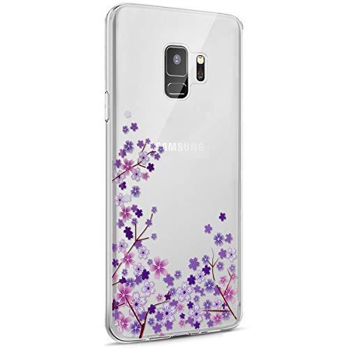 Surakey Galaxy S9 Funda, Funda Transparente Suave TPU Gel Ultra Fina Protección A Bordes Y Cámara Silicona Bumper Crystal Móvil Ultrafina Funda para Samsung Galaxy S9,Flor de Cerezo Morada