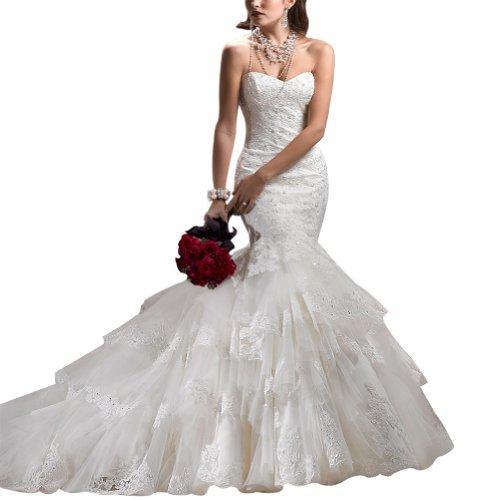 GEORGE BRIDE Trendy Liebsten Tiered Nixe Brautkleider Hochzeitskleider mit Spitze Applikationen Elfenbein