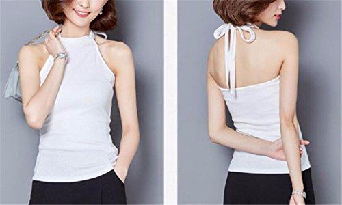Licol Femmes Coton Shapewear Doux Club Sexy Hauts Sans Manches D'Ete Blouses Cami Blanc
