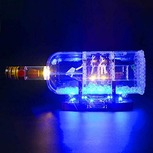 BRIKSMAX Kit di Illuminazione a LED per Nave in Una Bottiglia, Compatibile con Il Modello Lego 21313 Mattoncini da Costruzioni - Non Include Il Set Lego