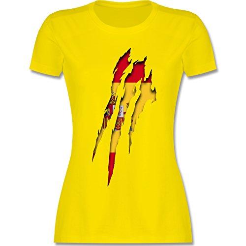 Länder - Spanien Krallenspuren - tailliertes Premium T-Shirt mit Rundhalsausschnitt für Damen Lemon Gelb