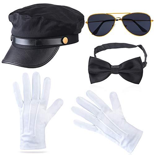 Haichen Chauffeur Kostüm Zubehör Limousine Taxifahrer Thema Hut Brille Handschuhe Fliege Kit Kostüm Hochzeit Fahrer Service Set (Schwarz4)
