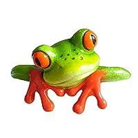 YOUOR Creative Resin Crafts 3D Frog Figurine Miniature Statue Office Desk Computer Decoration