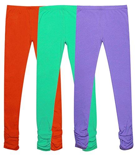 Spandex Knit Pants (Bienzoe Mädchen Strick Baumwolle Stretch Schuluniform Spitze Antistatische Legging 3 Packung E Größe 7)