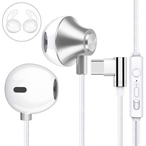 Garegce Écouteurs Intra-Auriculaires, USB Type C Casque Stéréo avec Télécommande et Micro Filaires Oreillettes pour Huawei P30 Pro/P20 Pro/P20 et Autres Appareils d'interface de Type C -(Blanc)