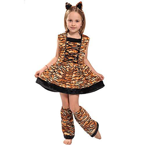 ay Tiger Kostüm Weicher Stoff Onesies Kleid Overall Für Weihnachten Halloween Karneval Party,M ()