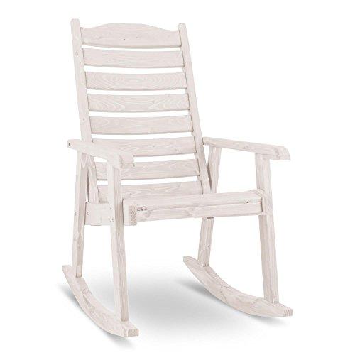 Blumfeldt Alabama • Schaukelstuhl • Schwingsessel • Gartenstuhl • Retro-Stuhl • Maße: 57,5 x 105,5 x 85 cm (BxHxT) • robuste Fertigung aus Massivholz der Spießtanne • große Rückenlehne • witterungsbeständige Schutzlasur • maximale Belastung bis 150 kg • weiß