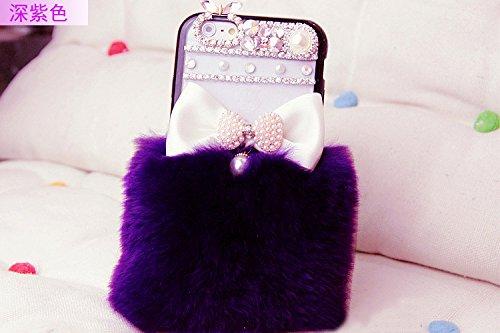 Coque iPhone 6 Plus/6S Plus , iNenk® Rex Hiver Laine Téléphone coquille protectrice Hard Shell PC Percer Mode 3D luxe couverture Diamant cas pour les femmes-Rose Violet foncé